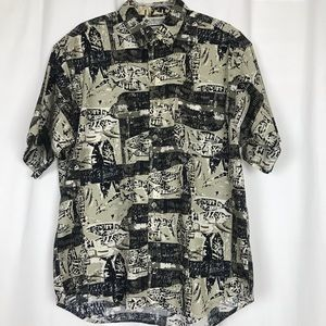 Men's COLUMBIA Casual Button-down Shirt Fish Theme